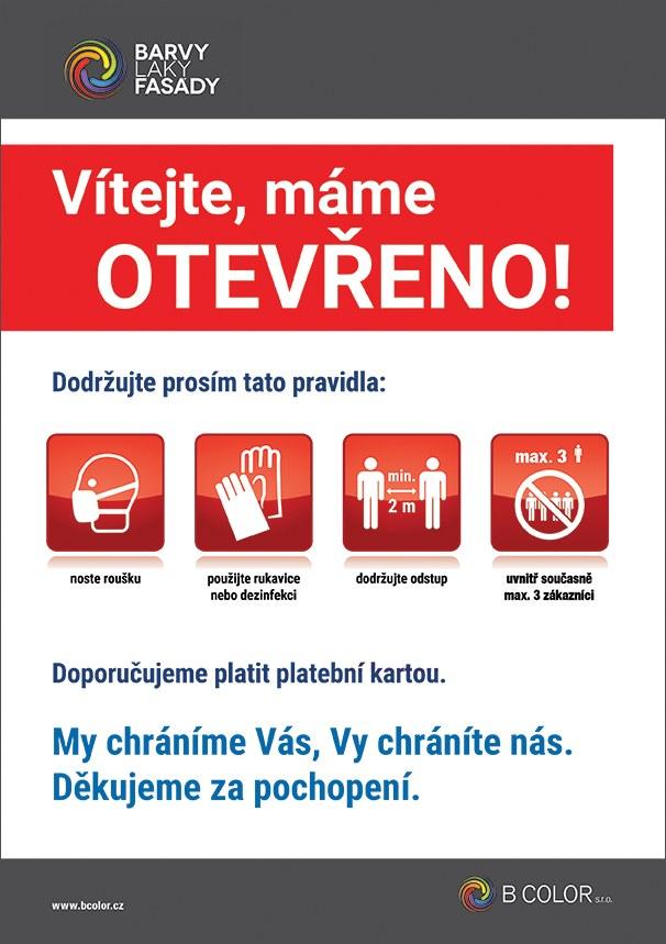 Plakát - mimořádná opatření pro zákazníky B COLOR - noste roušku, použijte rukavice nebo dezinfekci, dodržujte odstup min. 2m, uvnitř prodejny max. 3 zákazníci současně